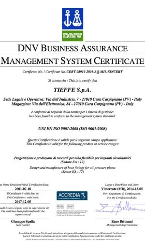 Tieffe fitings and adapter certification