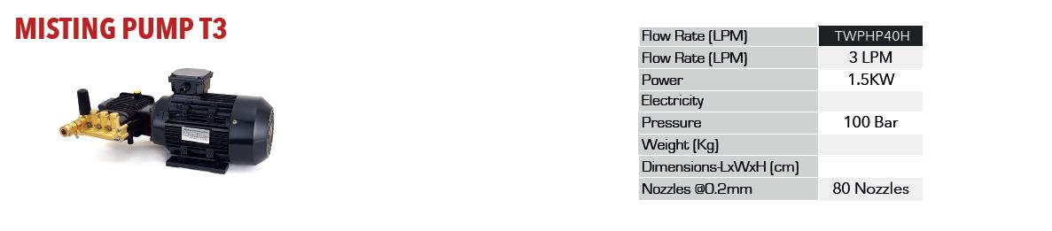 پمپ مه ساز | سیستمهای مه پاش | اطلاعات فنی پمپ مه پاش T3 | شرکت راستین کار